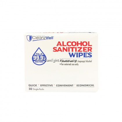 Cleanzwell 70% Isopropyl Alcohol Sanitizer Wipes 45Gx50'S
