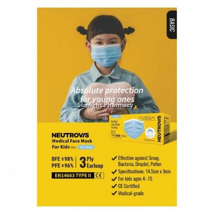 Neutrovis Medical Face Mask Kids 3Ply (Sky Blue) 50'S