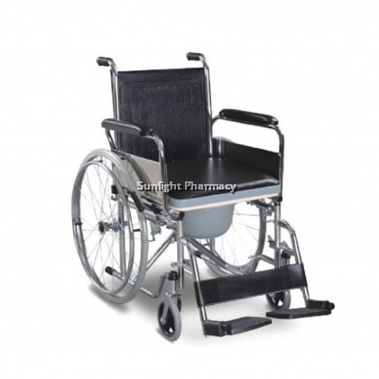"""Ezylife Commode Wheelchair With Bowl 58"""" FS681"""